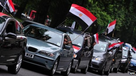 Convoy of supporters of former President Mohammed Morsi in London on 17 August 2013