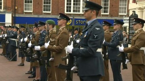 RAF servicemen and women parade through Huntingdon