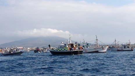 Spanish fishing boats take part in a protest off Gibraltar