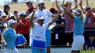 Anna Nordqvist of Sweden celebrates her hole in one