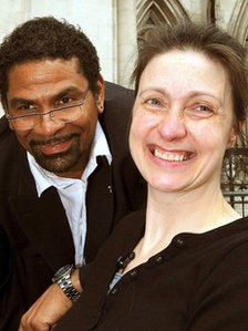 Debbie Purdy with her husband outside the Royal Courts of Justice