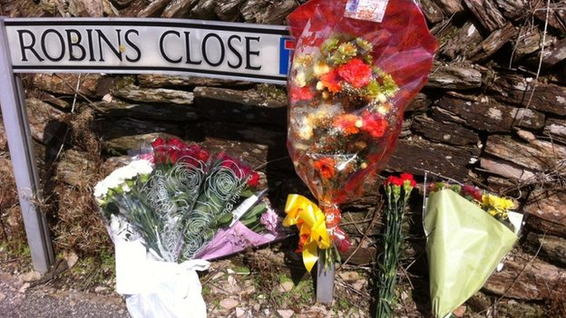 Biscovey death: floral tributes, 18 August 2013
