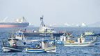 Spanish fishermen protest in the bay of Algeciras