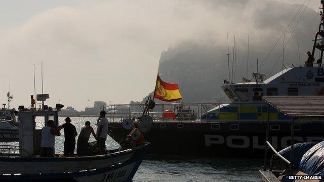 Spanish fishing boat and Gibraltar police boat
