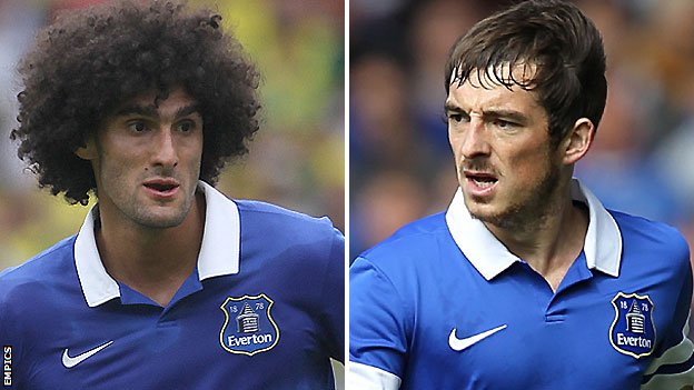 Everton duo Marouane Fellaini (left) and Leighton Baines