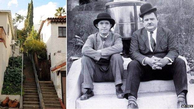"The ""music box steps"", LA, and Laurel and Hardy in Hats Off"