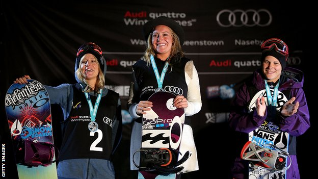 (left to right) Second place Jenny Jones of Great Britain, first place Jamie Anderson of the USA and Cheryl Maas of the Netherlands