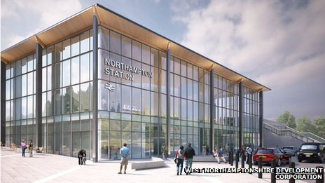 Artist's impression of new Northampton railway station