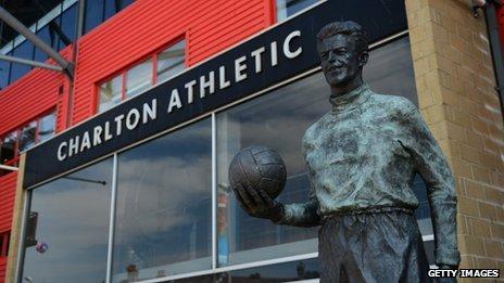 The exterior of Charlton Athletic's  Valley stadium