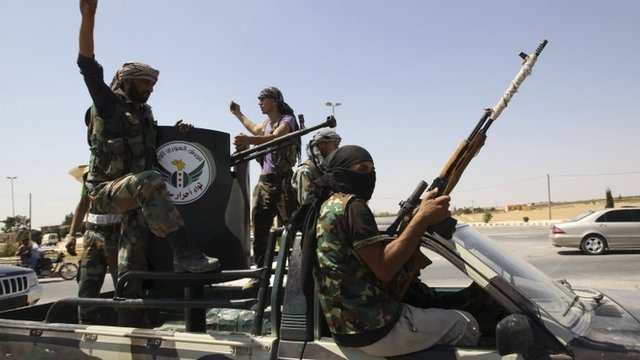 """Members of """"Free Men of Syria"""" brigade, operating under the Free Syrian Army"""