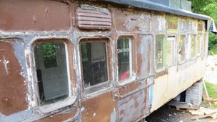The disused rail carriage