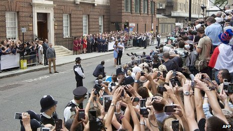 The crowd outside the Lindo Wing of St Mary's Hospital on 23 July 2013