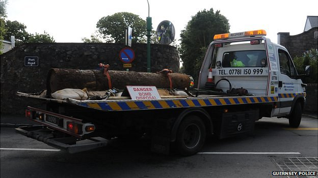 WWII sea mine being transported in Guernsey
