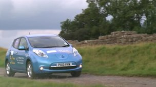 Electric car at Hadrian's Wall