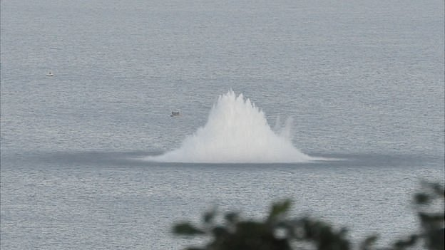 WWII sea mine being blown off Guernsey