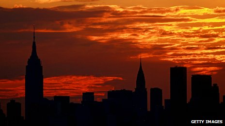 New York City skyline at sunset