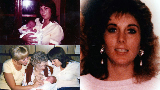 A composite image showing Cathy White and family before she was killed