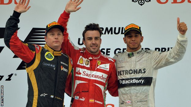 Raikkonen, Alonso and Hamilton