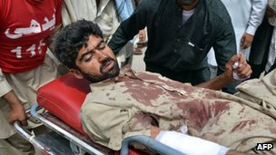An injured man after an attack in Quetta. Photo: 16 August 2013