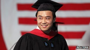 Bo Guagua receiving his masters degree in public policy at the John F. Kennedy School of Government at Harvard University on 24 May 2012