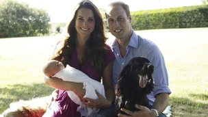 The Duke and Duchess of Cambridge pose with their son, Prince George and dogs, Lupo and Tilly.