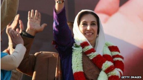 Benazir Bhutto at the campaign rally in December 2007 shortly before she was murdered