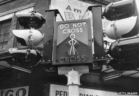 Pedestrian crossing sign in 1963