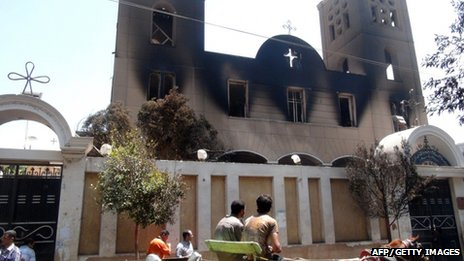 Fire damaged Coptic church