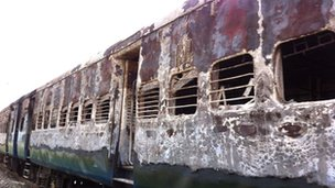 The remains of the burnt-out train