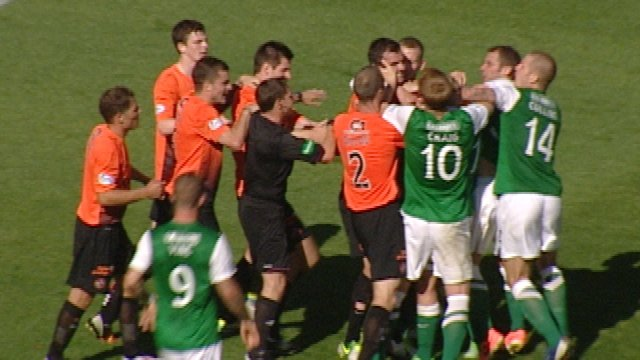 Highlights - Red cards issued at Easter Road
