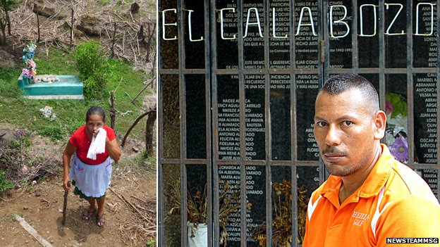 Chunguita Realegeno at her memorial to her family; Ezequiel de Jesus at the village memorial