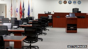 The United States Military Courtroom is seen at Camp Justice where the U.S. military is holding its war court for the five Guantanamo Bay prisoners accused of helping orchestrate the 11 September terror attack on 27 June 2013 in Guantanamo Bay, Cuba