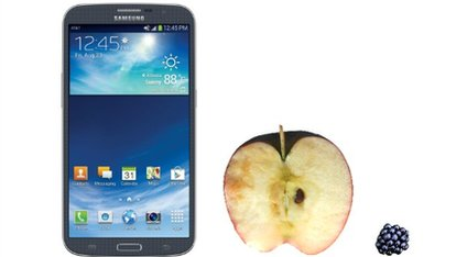 The Galaxy Mega next to an apple and a blackberry
