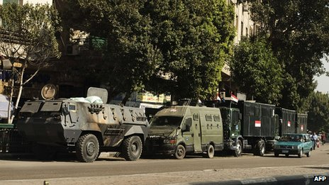 Egyptian military near Tahrir Square, Cairo. 20 Aug 2013
