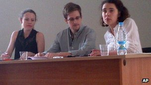 Edward Snowden at Sheremetyevo Airport in Moscow (12 July 2013)