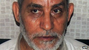 Photo of Mohamed Badie after his arrest in Cairo on 20 August 2013