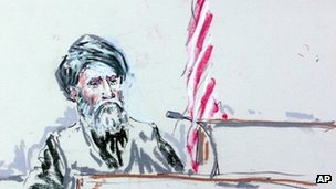 In this sketch, Mohammad Haji Naeem testifies in court at Joint Base Lewis-McChord on 20 August 2013