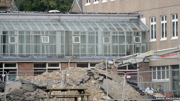 Rubble at Kingussie High School
