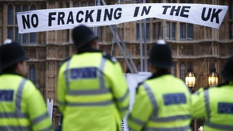 A protest against shale gas extraction at the Houses of Parliament December 2012