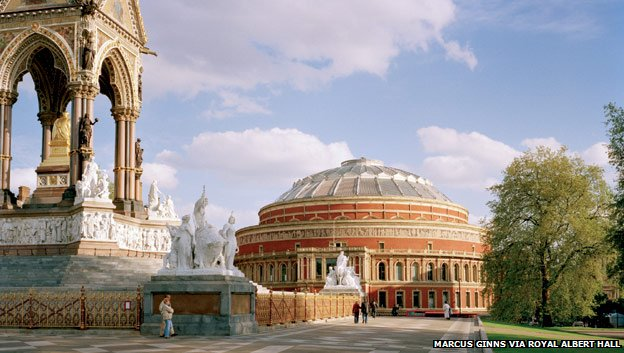 Royal Albert Hall and Albert Memorial. Image from http://www.bbc.co.uk/history/0/23756880