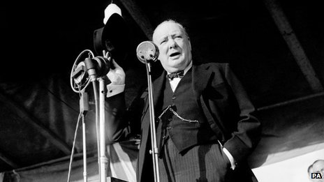 Prime Minister Winston Churchill addressing an audience of over 20,000 in London in 1945