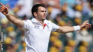 James Anderson celebrates dismissing Warner