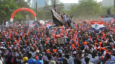 Supporters of Ghana's opposition New Patriotic Party in December 2012