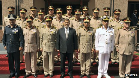 President Mohamed Morsi (C) with then Defence Minister Abdel Fattah al-Sisi (centre L) and other members of Scaf in October 2012