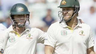 Chris Rogers and Shane Watson depart for lunch