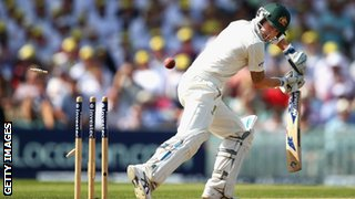 Michael Clarke is bowled by Jimmy Anderson