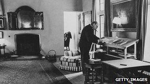 Winston Churchill in the study at Chartwell
