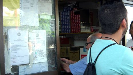 Kiosk selling cheap cigarettes near Gibraltar's border with Spain