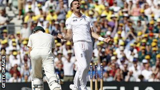 Jimmy Anderson celebrates the dismissal of Michael Clarke