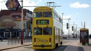A tram on Blackpool's Golden Mile